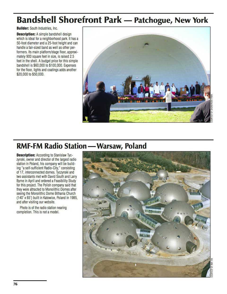 Sample pages – Bandshell Shorefront Park, Patchogue, New York & RMF-FM Radio Station, Warsaw, Poland