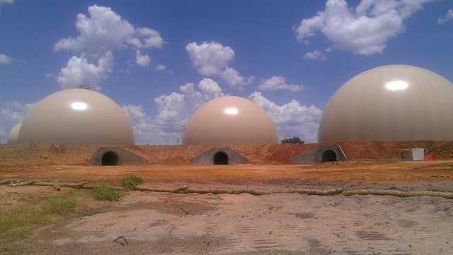 On its 1,000 acre operation in Voca, Texas, Cadre has three Monolithic Domes for storing frac-sand. For retrieving the sand, each dome has a Monolithic concrete tunnel 23' wide, 13' high and about 130' long.