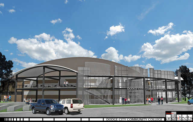 Dodge City Community College Activity Center designed by Michael McCoy, AIA. This Monolithic Dome facility will also serve as the college and town tornado shelter.  It will include space for both basketball, hockey and a host of other activities. It is multipurpose in design.