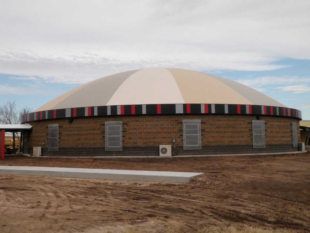 The Monolithic Dome cafeteria/tornado shelter has a diameter of 109 feet. School Superintendent Charles Dickinson said that visitors are amazed by its inside spaciousness.