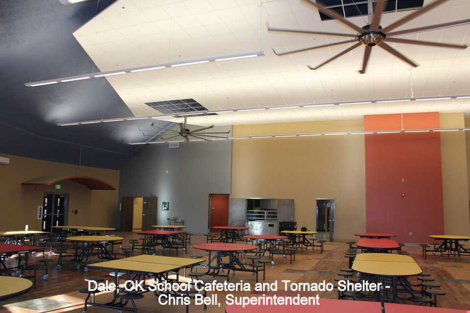 The cafeteria produces and serves meals to Dale's 726 students in grades kindergarten through 12 AND is a tornado shelter for the school and the community.