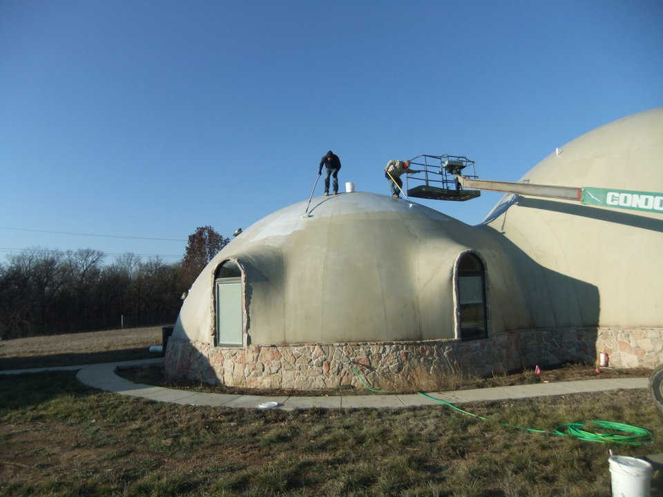 The crew then applied our MonoForm primer to the outside of the structure.