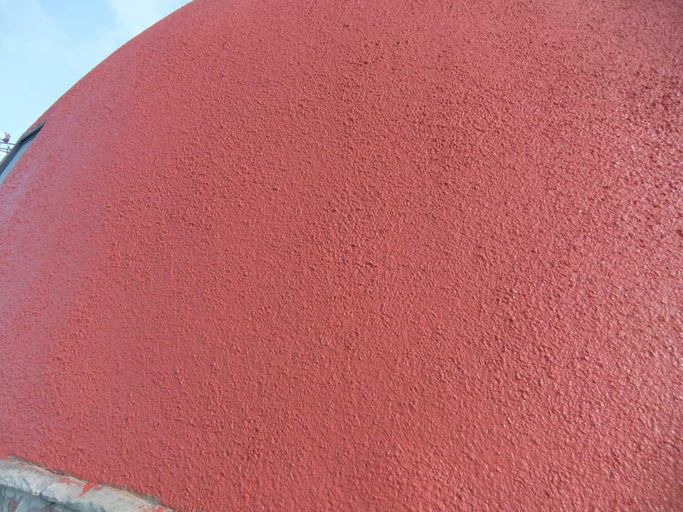 The silicon paint makes a great looking surface, that has a long life, stays clean and protects the concrete stucco.