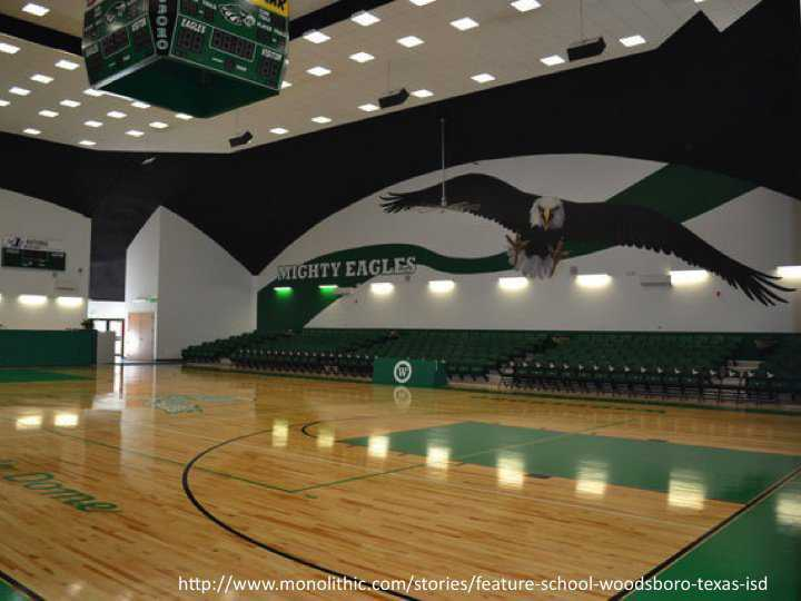 Rawlings designed a mural for the Monolithic Dome gym at Woodsboro, Texas that depicts their mascot: the Mighty Eagle. The high school's 20,000-square-foot gym also serves as an auditorium, activity center and the community's disaster shelter.
