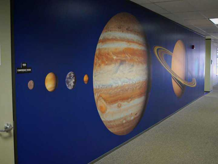 Designing murals for the aerospace industry is another Rawlings' specialty.