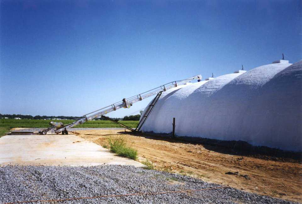 Shown here is a series of 40' Ecoshells, hooked together as a fertilizer plant. It took a bit of extra work and some preplanning, but the Ecoshells make a relatively inexpensive fertilizer plant that operates well.