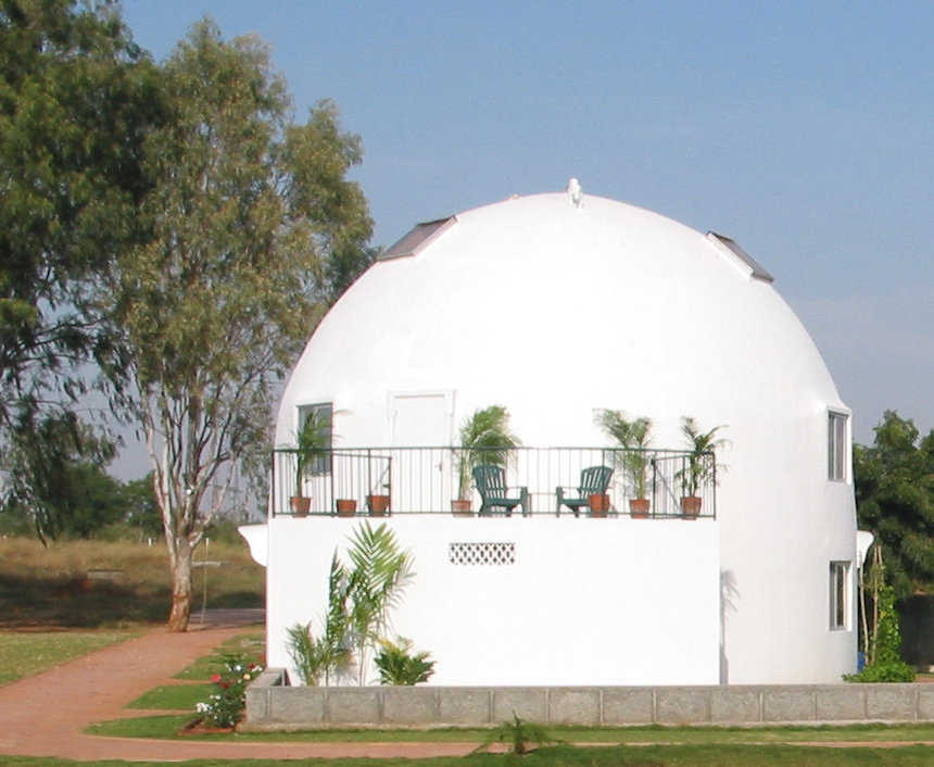 This is another photo of one of the domes in Hyderabad, India. This Ecoshell is a spectacularly effective structure, built at a minimal price.