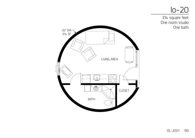 Floor Plan: DL 2001. 314 Square Feet. One Bedroom
