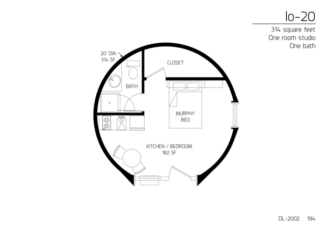 Floor Plan: DL 2002. 314 Square Feet. One Bedroom