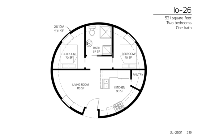 Floor Plan: DL 2601. 531 Square Feet. Two Bedrooms