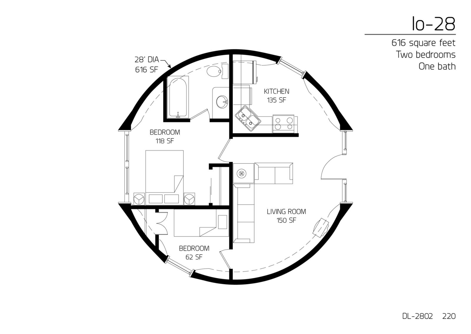floor plan dl 2802 monolithic dome institute. Black Bedroom Furniture Sets. Home Design Ideas