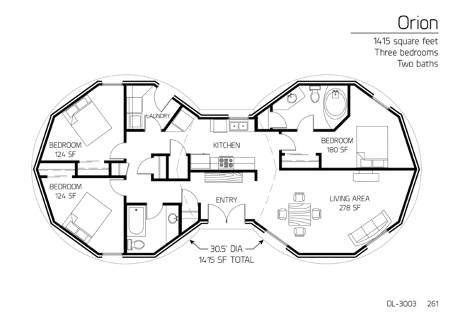 Floor Plans: 3 bedrooms | Monolithic Dome Institute