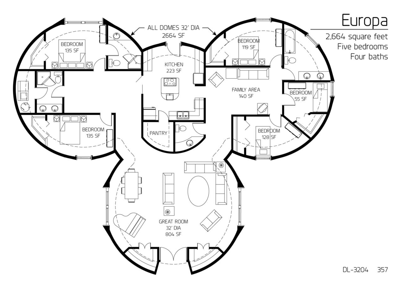 Floor Plan: DL-3204 | Monolithic Dome Institute