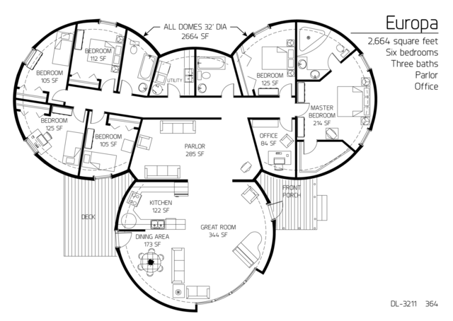 Floor Plans: 6 or more bedrooms | Monolithic Dome Institute