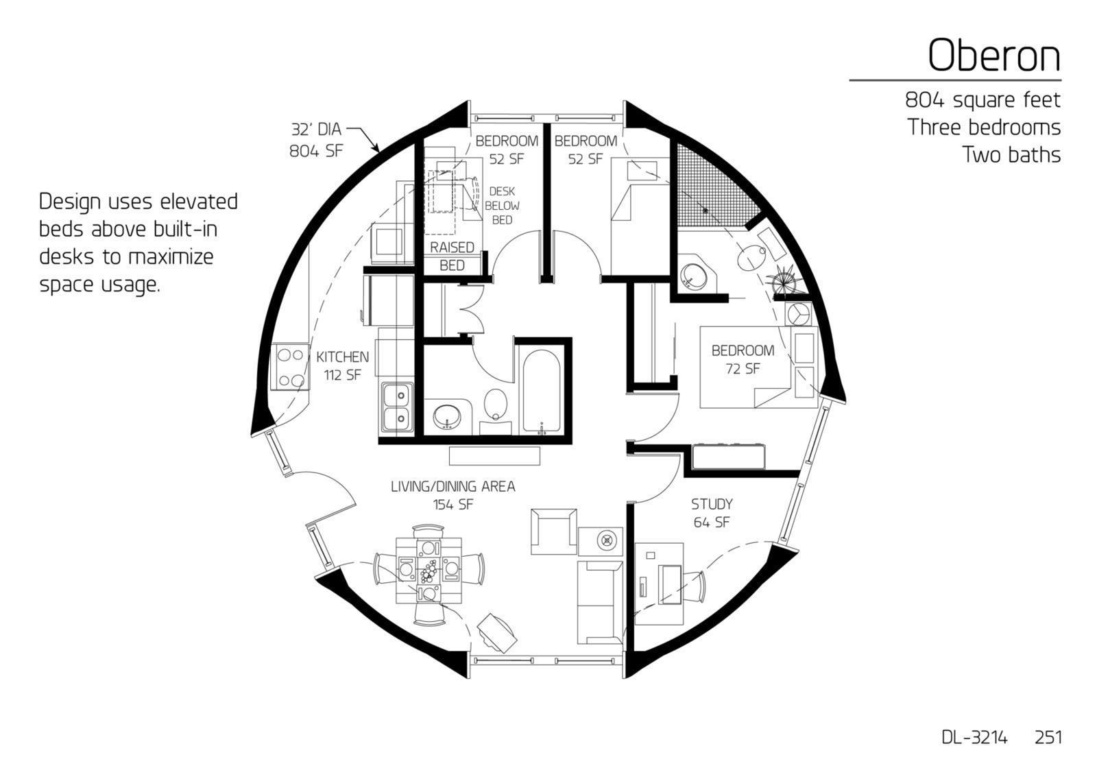 Floor Plan: DL-3214 | Monolithic Dome Institute