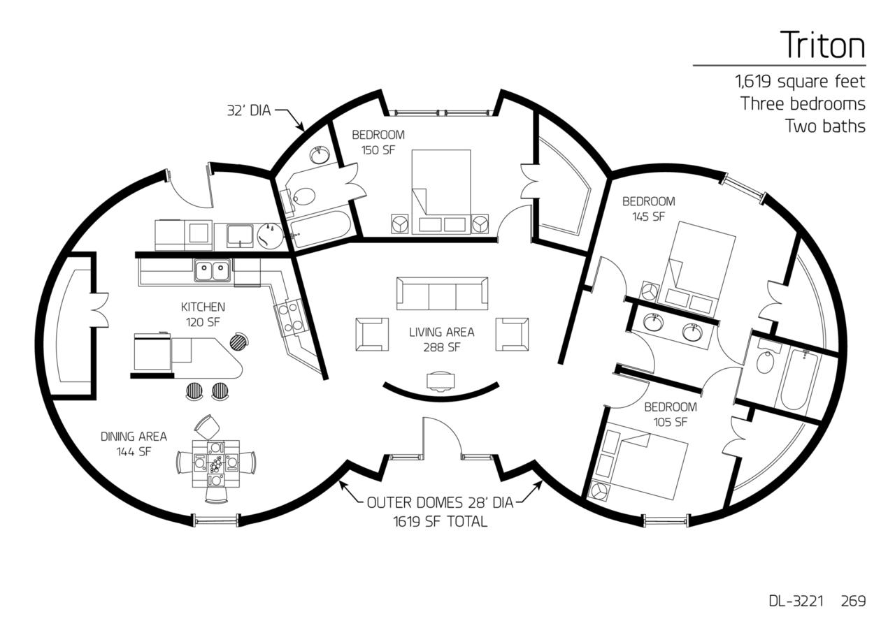 floor plan dl 3221 monolithic dome institute. Black Bedroom Furniture Sets. Home Design Ideas