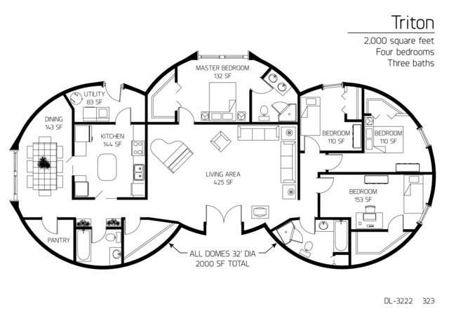 Floor Plan: DL 3222. 2,000 Square Feet. Four Bedrooms