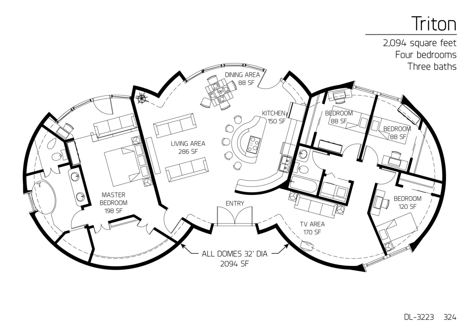 floor plan dl 3223 monolithic dome institute. Black Bedroom Furniture Sets. Home Design Ideas