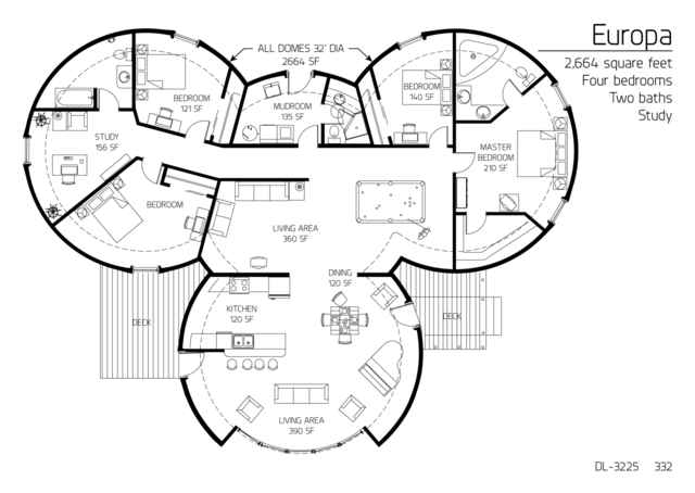 Floor Plan: DL 3225. 2,664 Square Feet. Four Bedrooms