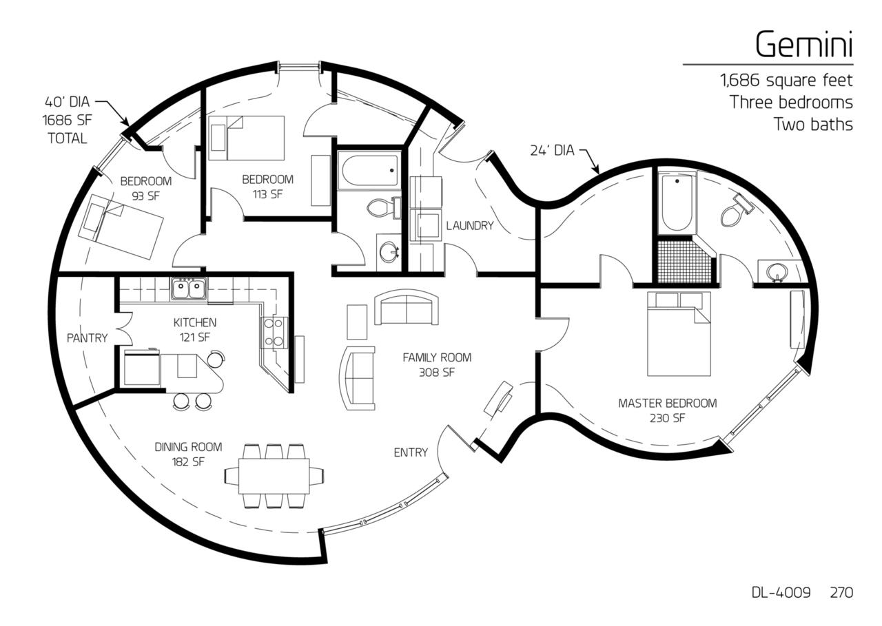 floor plan dl 4009 monolithic dome institute. Black Bedroom Furniture Sets. Home Design Ideas