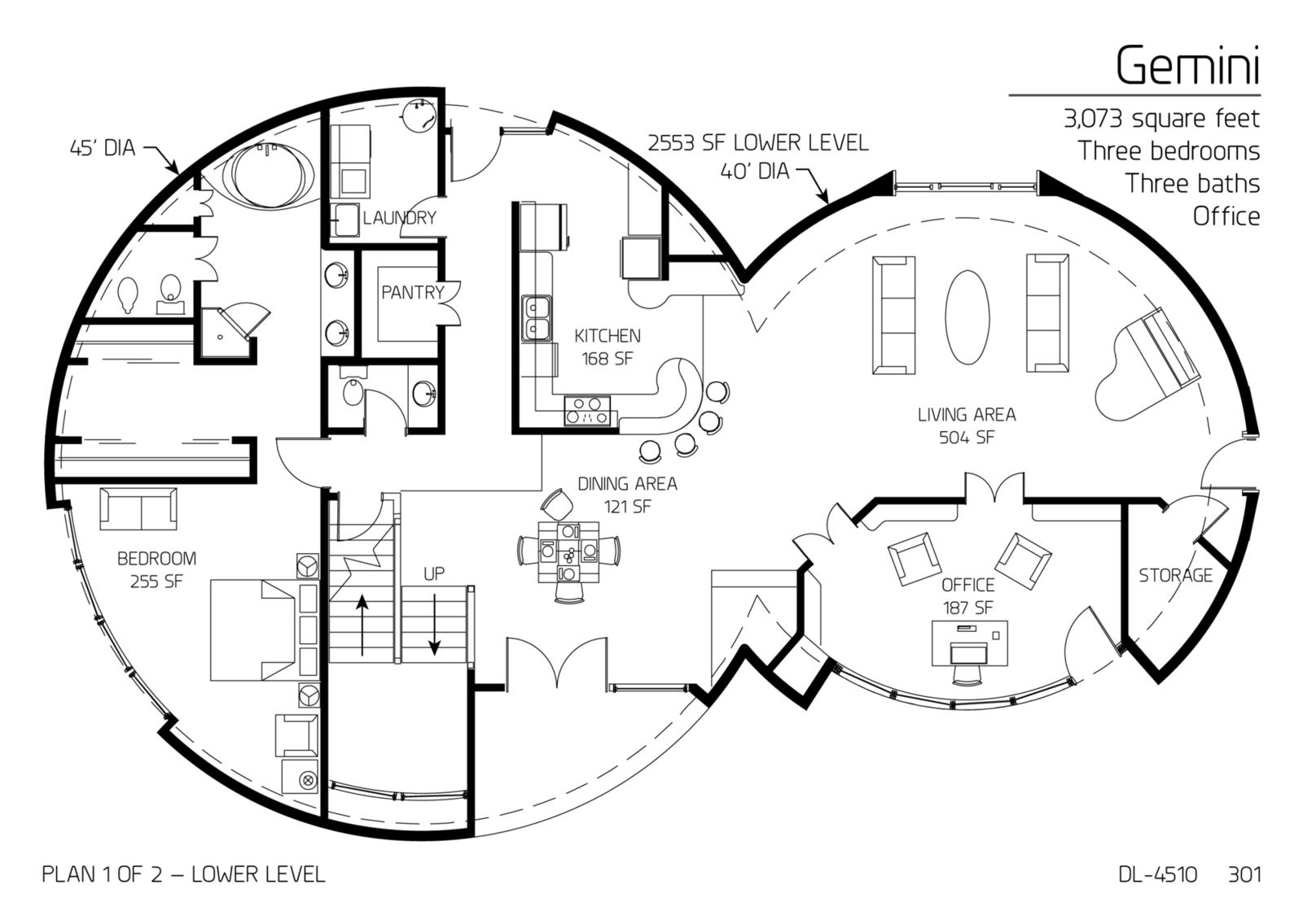 Floor Plan Dl 4510 Monolithic Dome Institute