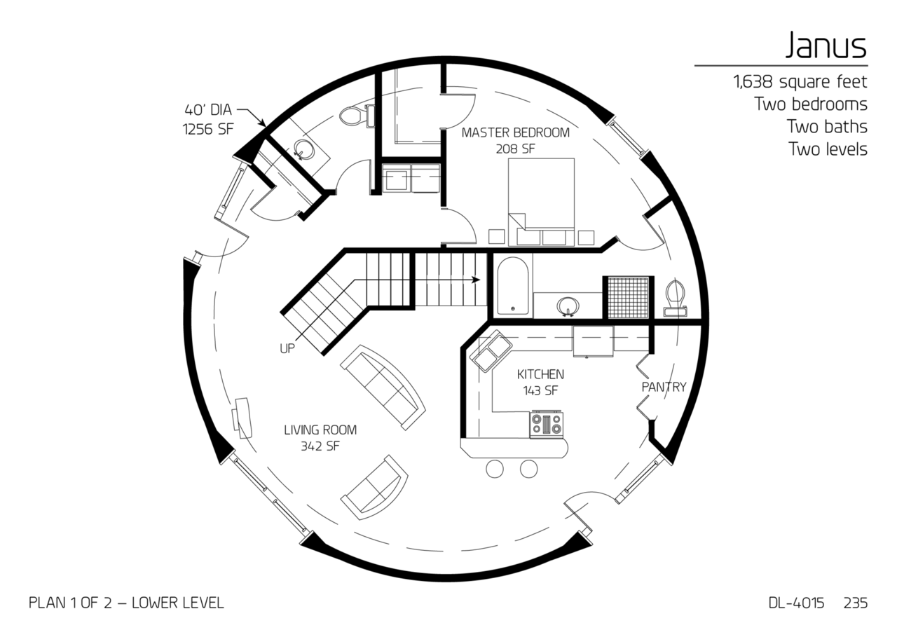Floor Plan: DL4015 Monolithic Dome Institute - Country Home Plan 2 Bedrms, 1 Baths 1344 Sq Ft 1261092