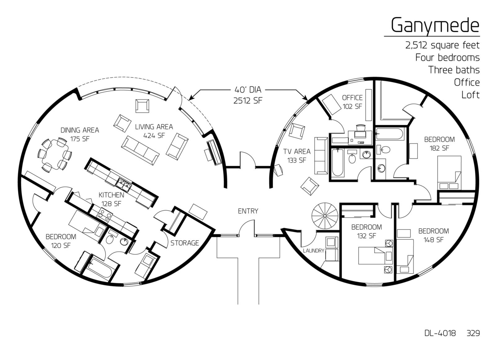 Floor Plan Dl 4018 Monolithic Dome Institute