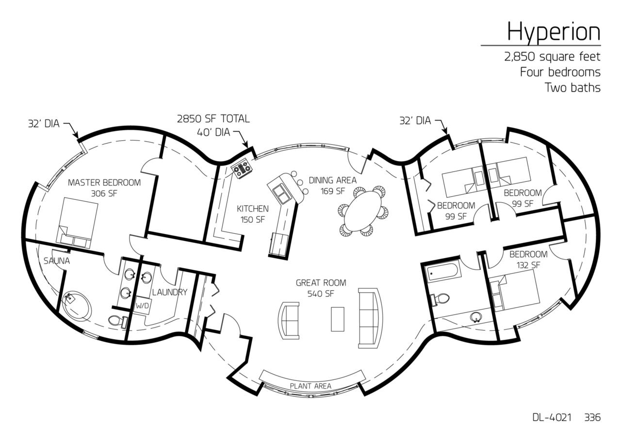 Floor Plan: DL-4021 | Monolithic Dome Institute