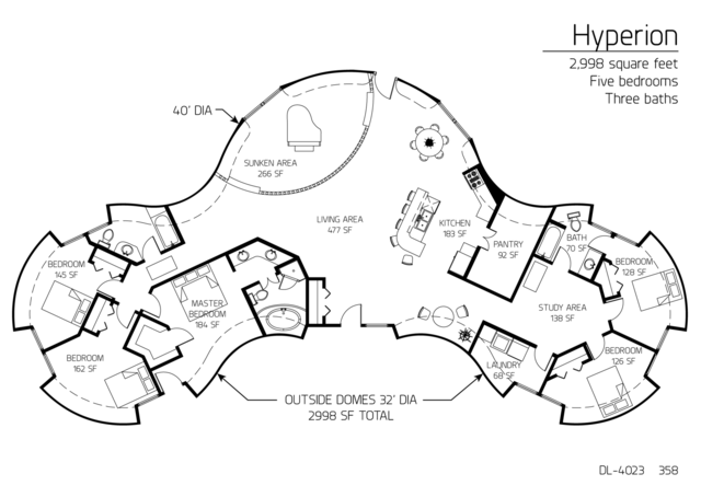 Floor Plan: DL 4023. 2,998 Square Feet. Five Bedrooms