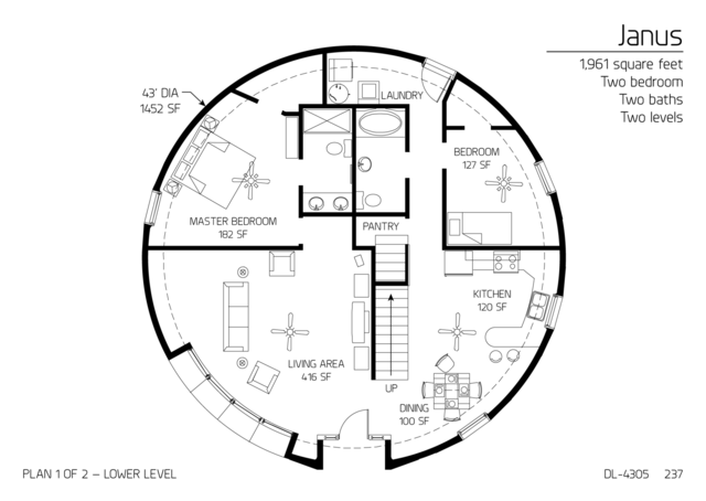 Floor plans multi level dome home designs monolithic for Multi level floor plans