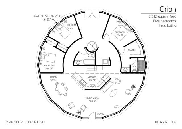 Floor Plans: 5 bedrooms | Monolithic Dome Institute