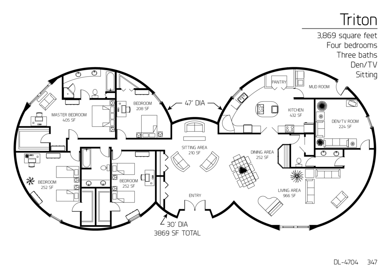 Floor Plan: DL-4704 | Monolithic Dome Institute