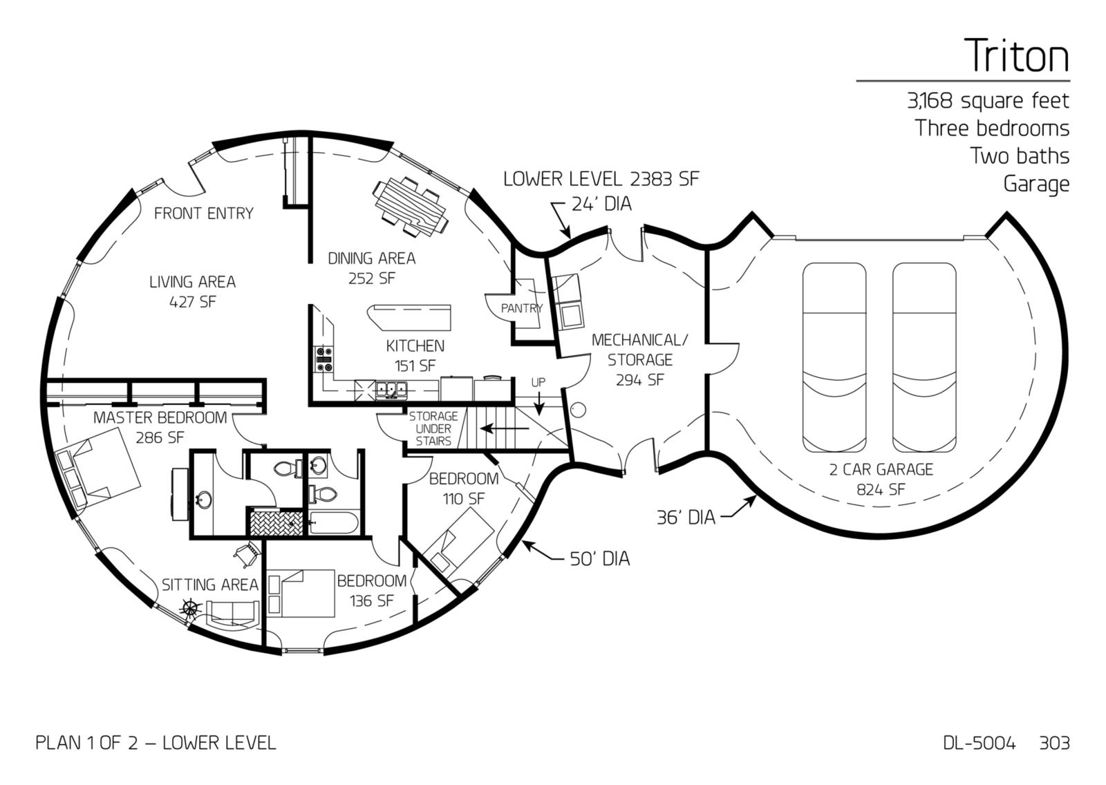 Floor Plan: DL-5004 | Monolithic Dome Institute