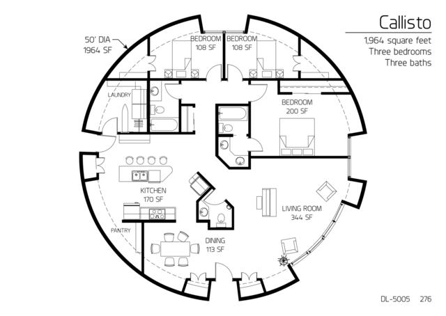 Floor Plans: 3 bedrooms | Monolithic Dome Institute