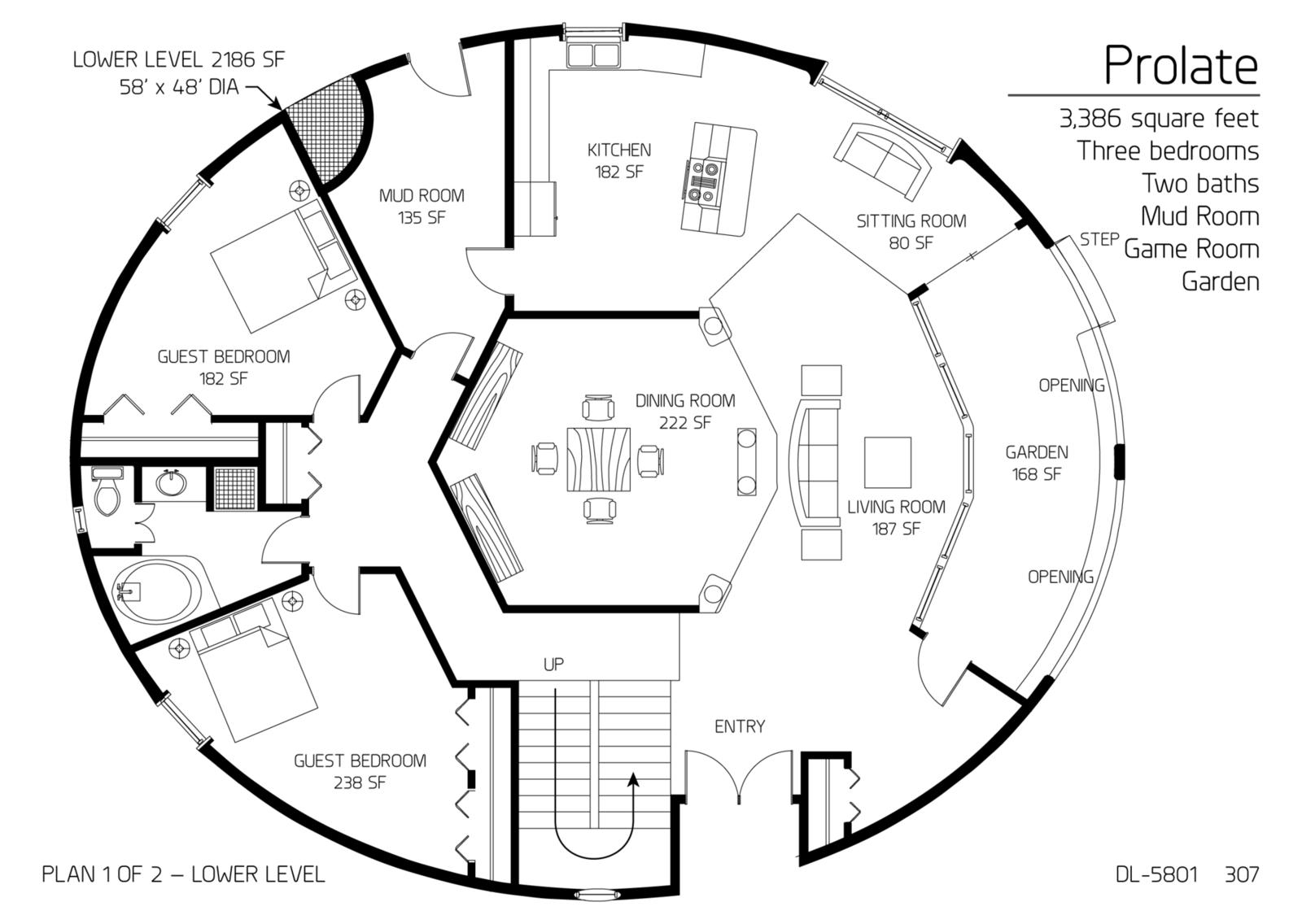 Floor Plan: DL-5801 | Monolithic Dome Institute