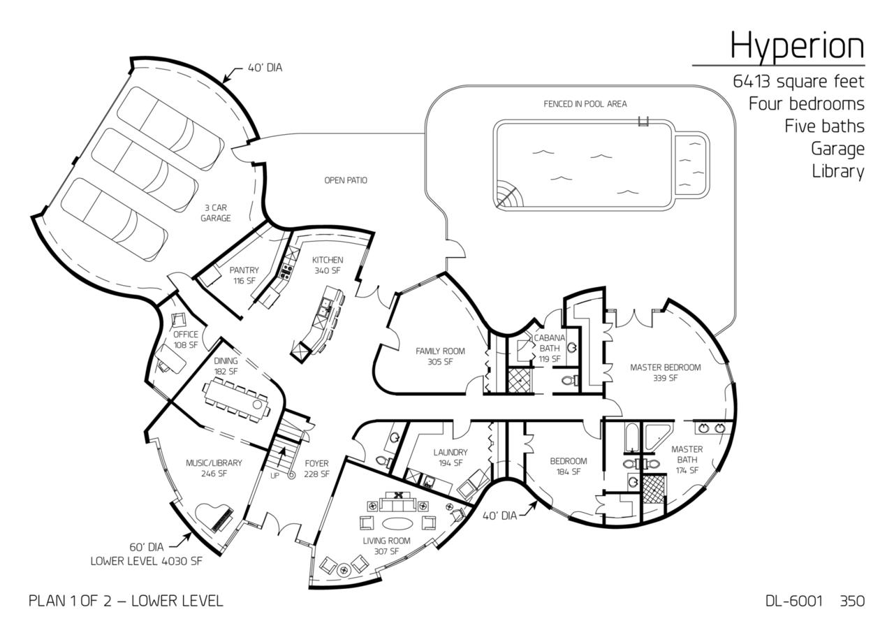 floor plan dl 6001 monolithic dome institute. Black Bedroom Furniture Sets. Home Design Ideas