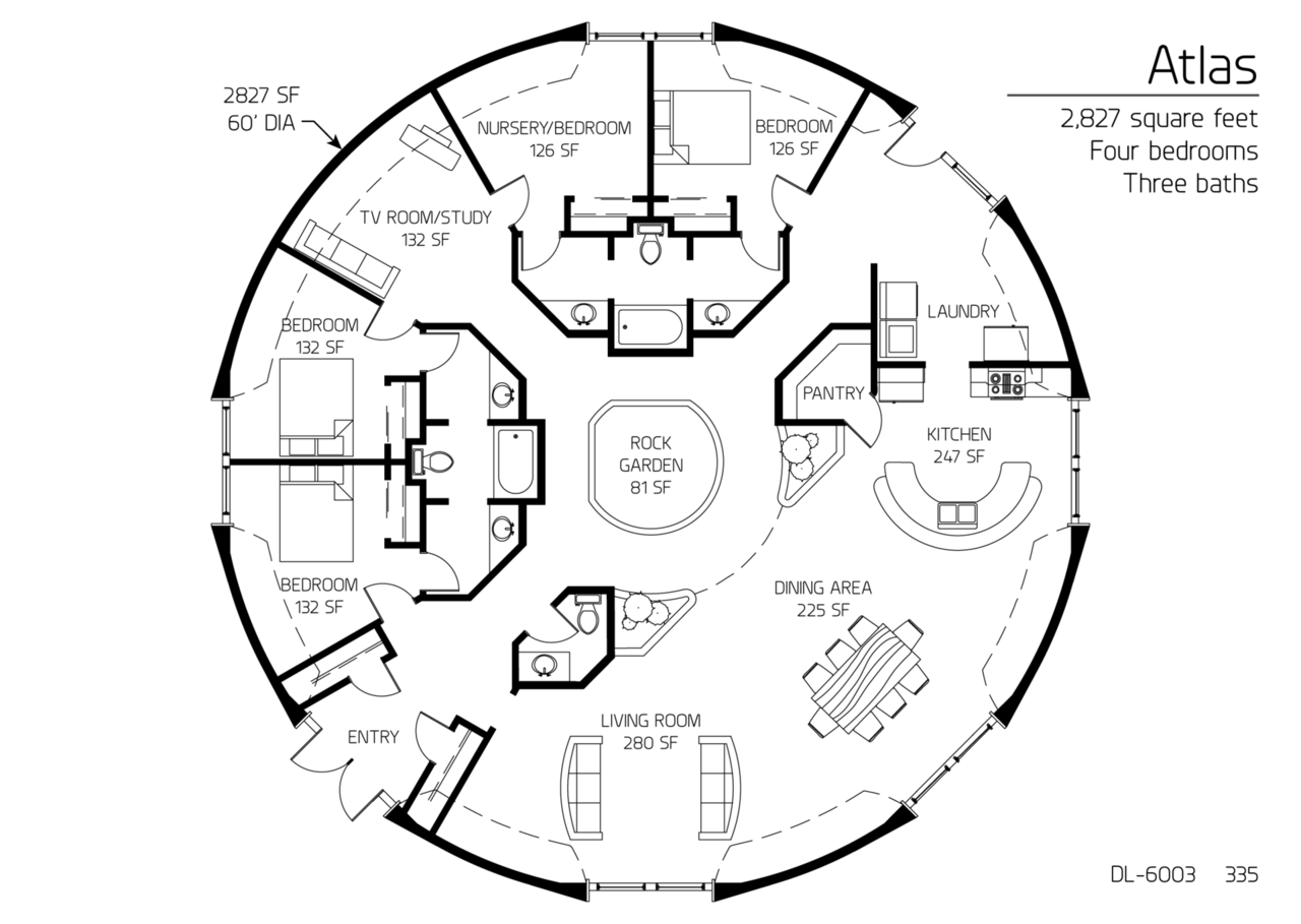 Floor plan dl 6003 monolithic dome institute for Circular house floor plans