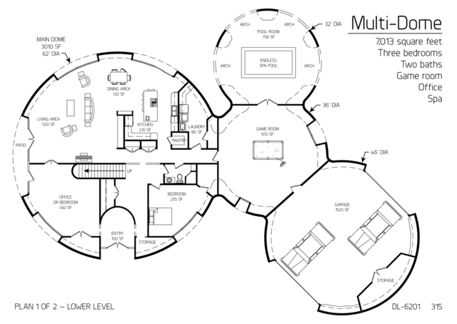 Prolate multi dome octagon olympus and xanadu floor for Geothermal house plans