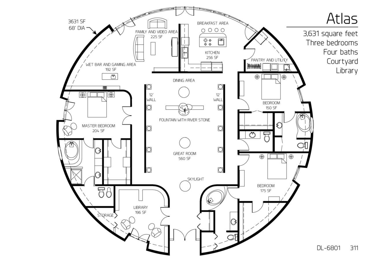 Floor plan dl 6801 monolithic dome institute for Circular house floor plans