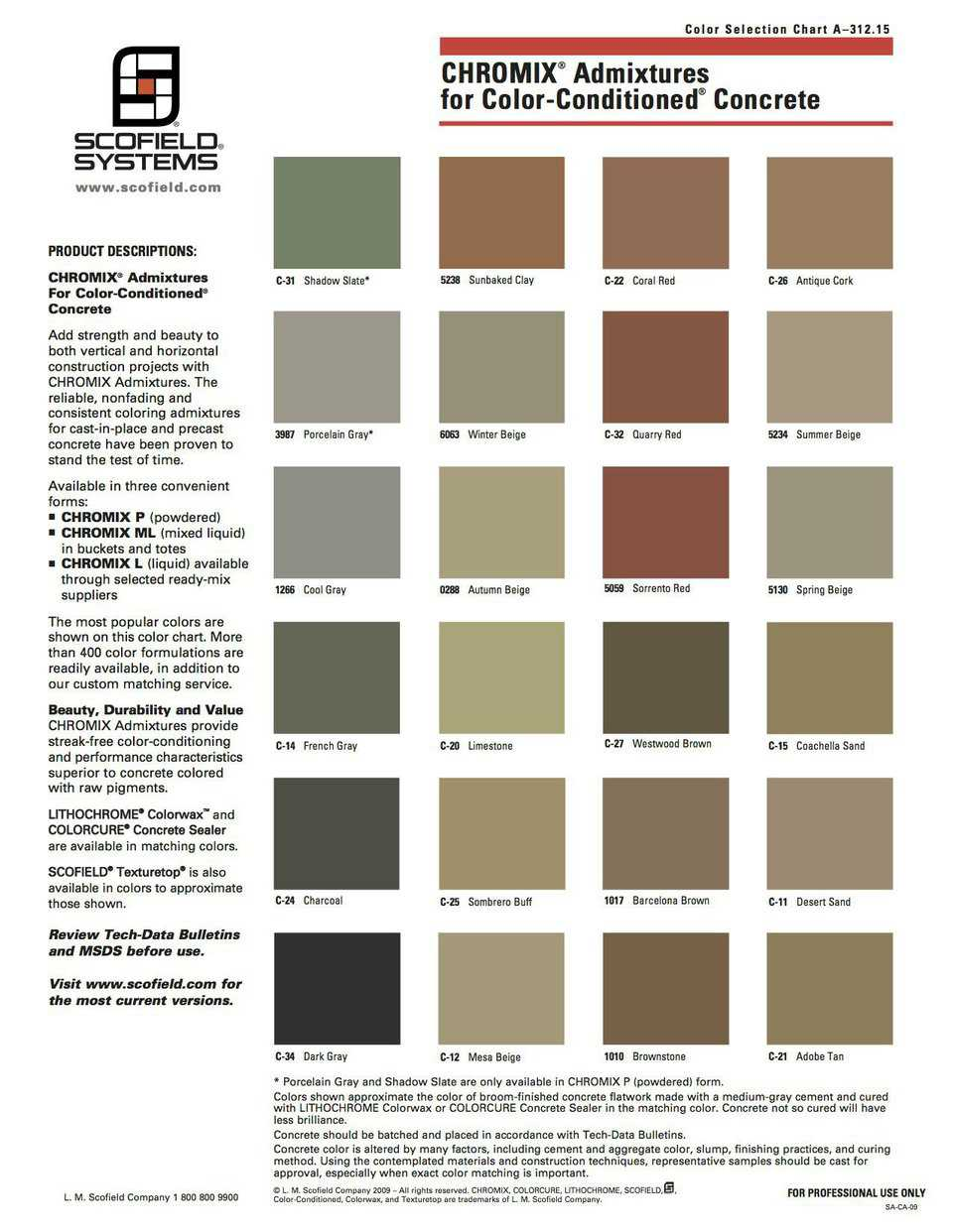 Color Chart – Color-Conditioned Concrete