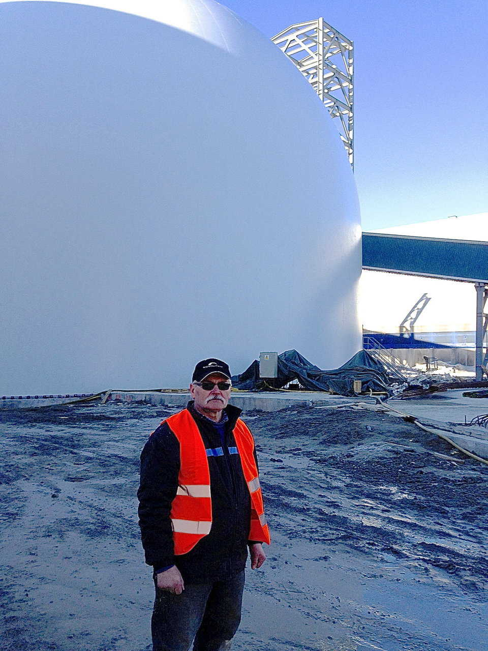 Jan Pregowski stands next to newly inflated structure.