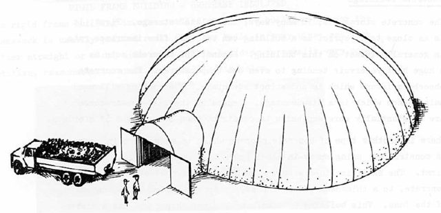 This illustration, taken from Protect Your Potatoes, depicts the first Monolithic Dome potato storage we built. It can hold five million pounds of potatoes. To control temperature and humidity we spray our domes with urethane and provide air-circulating systems.