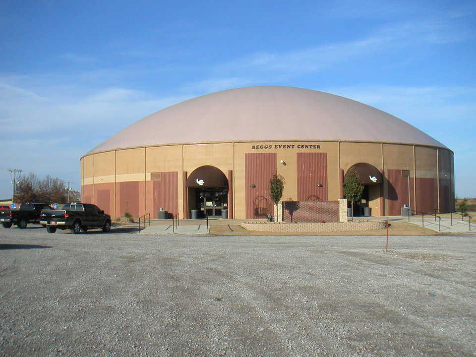 Beggs, Oklahoma Event Center — Beggs built two Monolithic Domes: A 160' diameter gymnasium/event center built on a 24' Orion wall; a 112' diameter dome on a 12' Orion wall that provides nine additional classrooms, offices and a student commons area.   See: http://www.monolithic.com/stories/beggshighschool