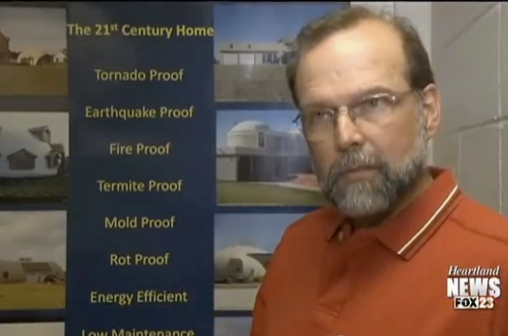 Professor Michael Cobb, Physics Professor of Southeast Missouri University speaks of the Monolithic Dome's benefits on Channel 23 Heartland News (Fox Affiliate)