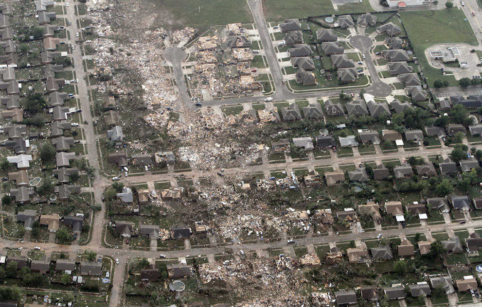 An aerial photo of a neighborhood hit by a massive tornado in Moore, on May 20, 2013.
