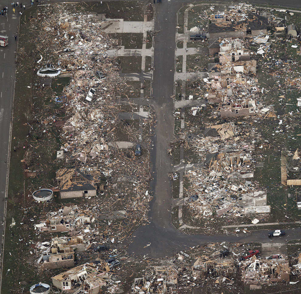 An aerial photo of homes hit by the tornado in Moore, Oklahoma, on May 20, 2013.