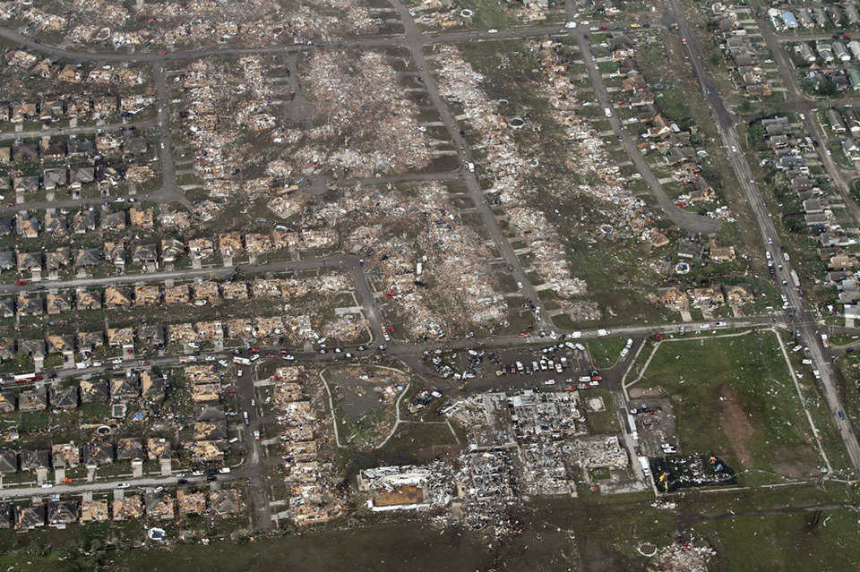 An aerial photo of a section of Moore struck by the massive tornado on May 20, 2013.