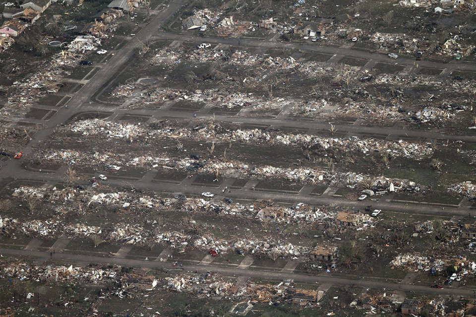 An aerial photo of a neighborhood in Moore destroyed by the massive tornado on May 20, 2013.