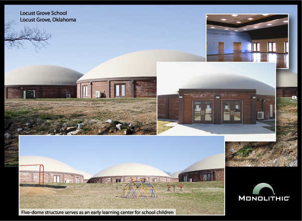 Locust Grove, Oklahoma: This Monolithic Dome designed as an elementary school was completed in 2012. The administration reports that sick days for both students and teachers at this facility were significantly less as compared to a conventional elementary school in the same district. And the dome is tornado-safe — a much needed benefit in Oklahoma.