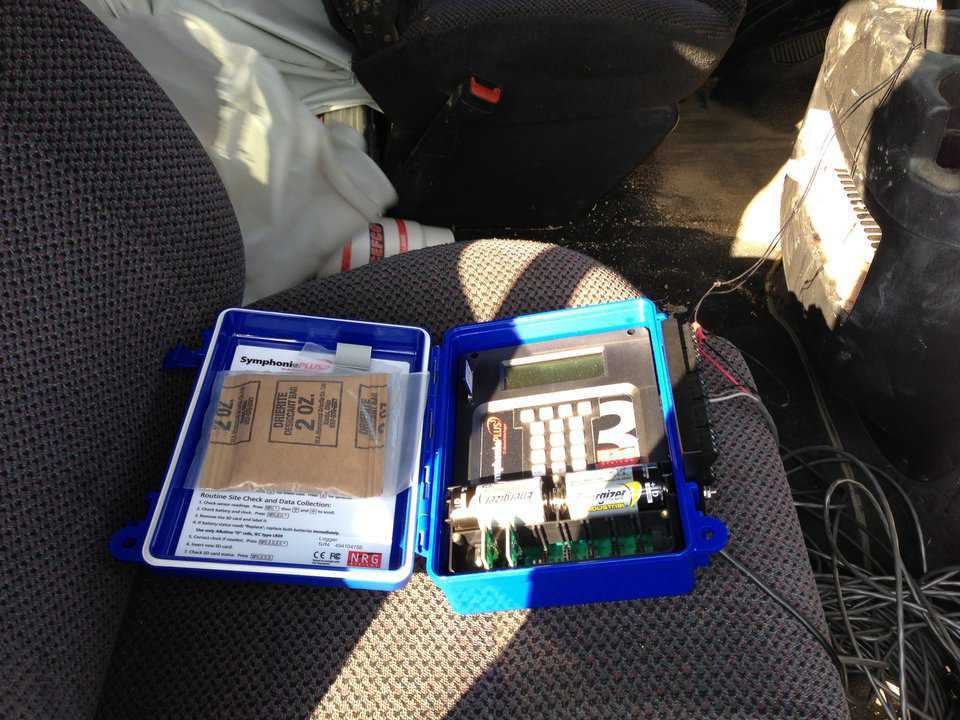 Data Logger that we used to log the measurements was kept in a van that protected it, and provided the power.